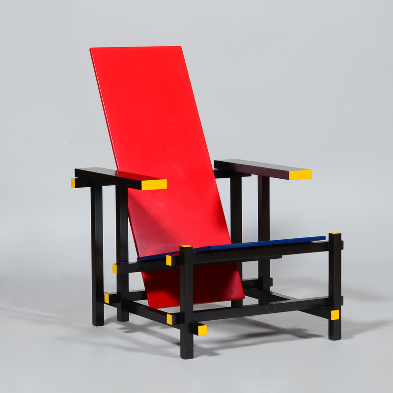 Gerrit Reitveld Lacquered Wood 'Red and Blue' Armchair, for Cassina