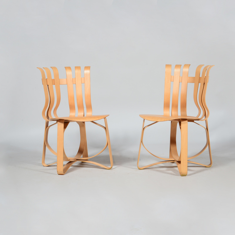 Frank Gehry Pair of Bent Maple 'Hat Trick' Chairs, for Knoll