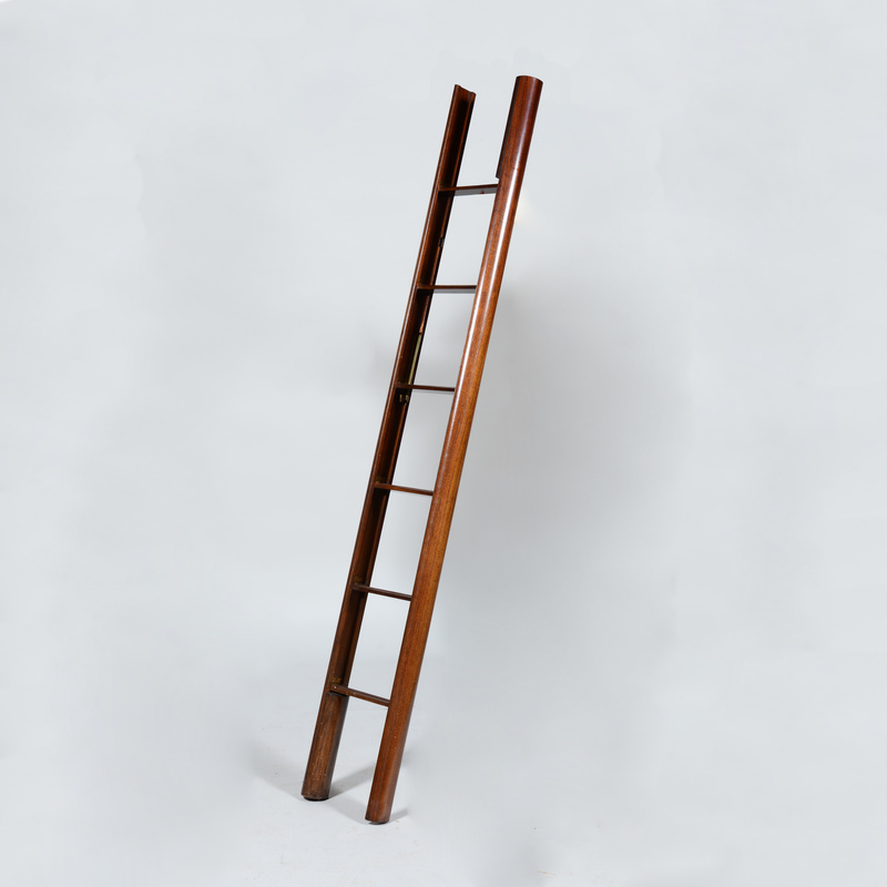 Folding Mahogany Library Ladder