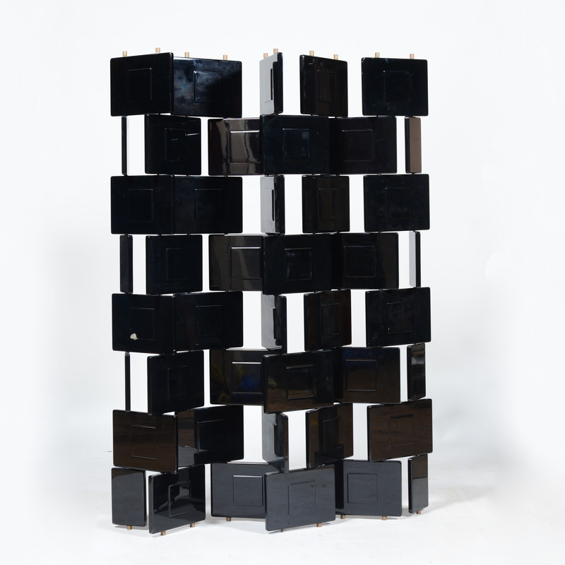 Black Lacquer Folding Screen, in the Style of Eileen Gray