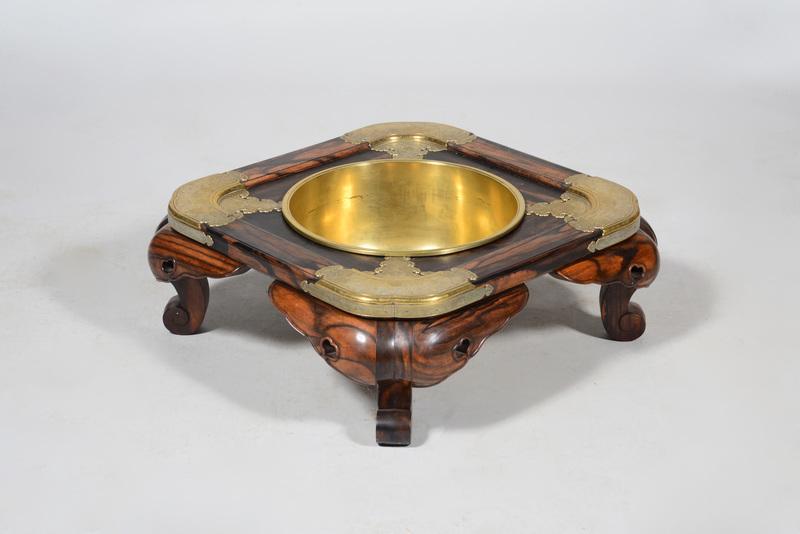 Japanese Brass-Mounted Hardwood Hibachi
