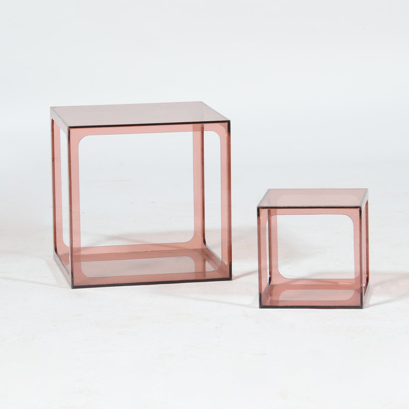 Two Colored Lucite Side Tables