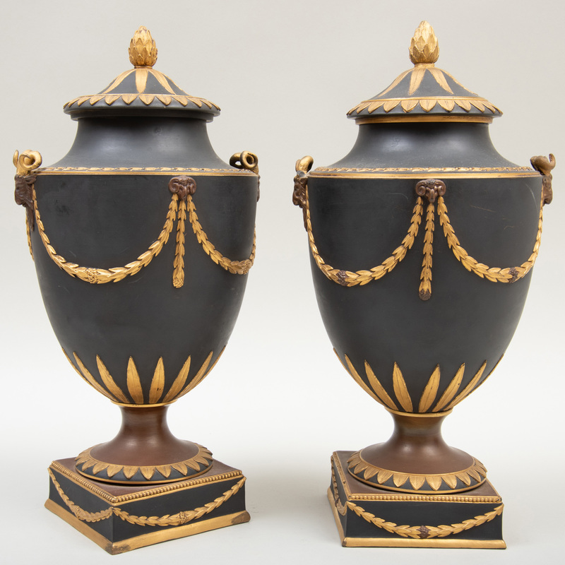 Pair of Wedgwood Black Basalt Bronze and Gilt-Decorated Vases and Covers