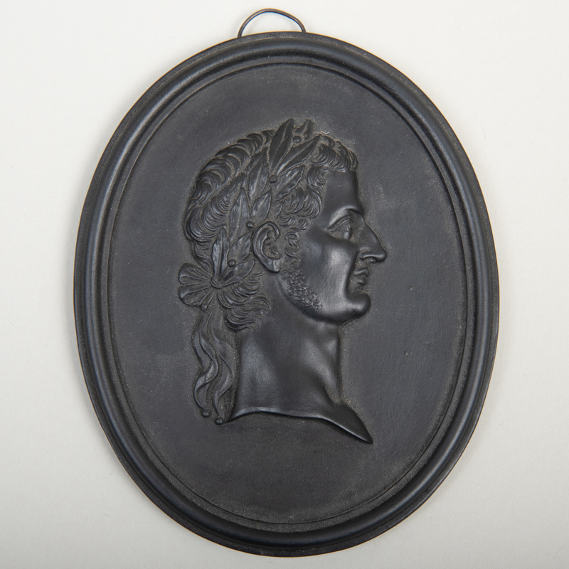 Wedgwood Black Basalt Oval Portrait Medallion of Tiberius