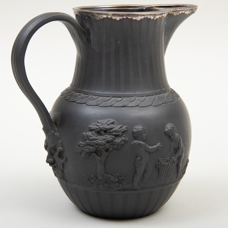Wedgwood Black Basalt Silver-Mounted Jug