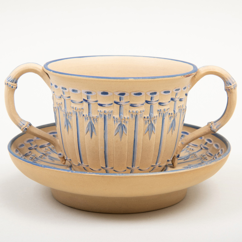 Wedgwood Caneware Two Handle Trembleuse Cup and Saucer
