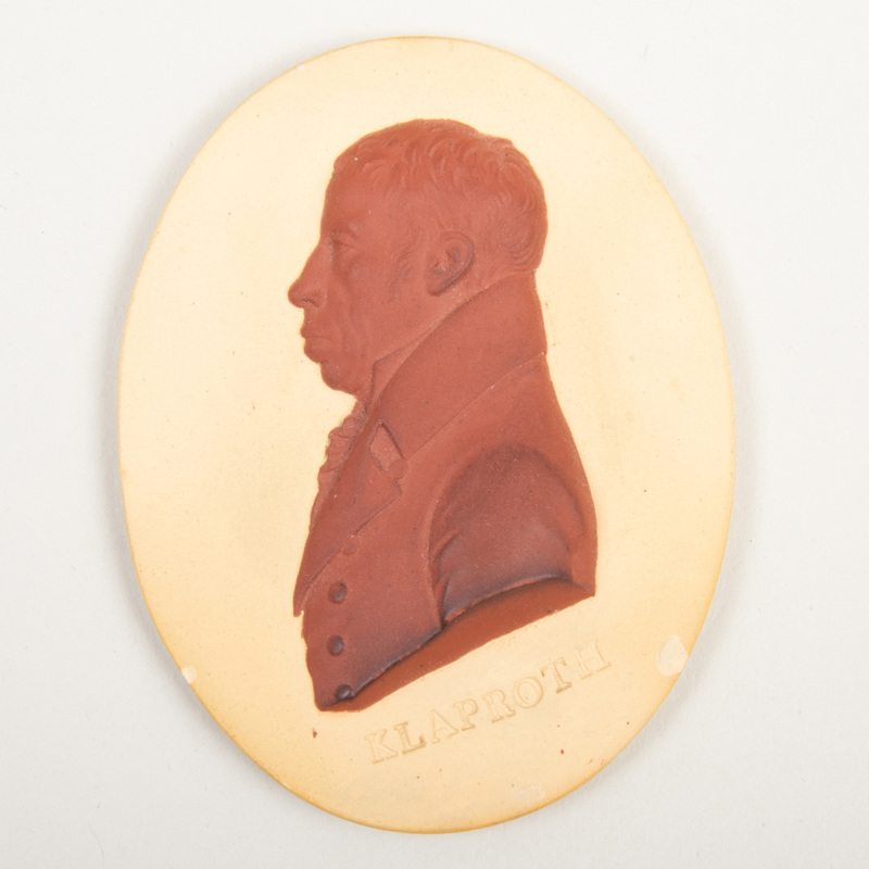 Wedgwood Caneware and Rosso Antico Oval Portrait Medallion of Heinrich Klaproth