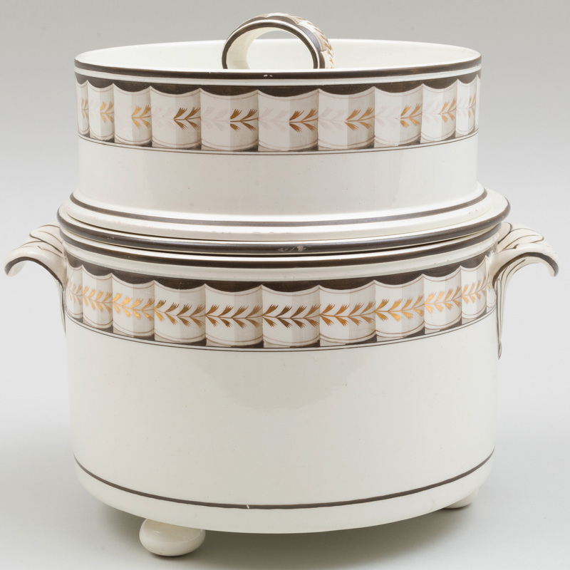 Wedgwood Creamware Fruit Cooler, Cover and Liner