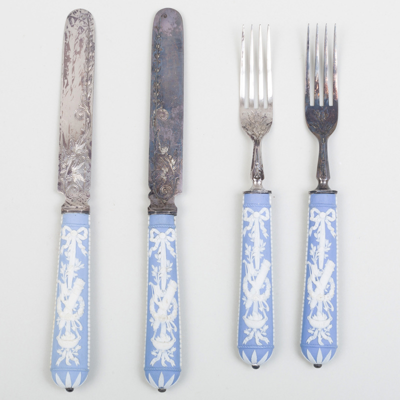 Two Pairs of Silver Plate and Wedgwood Jasperware Forks and Knives