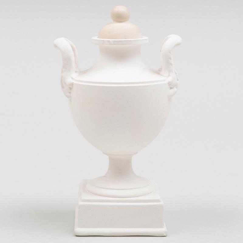 Miniature Wedgwood White Jasperware Two Handle Vase and Cover