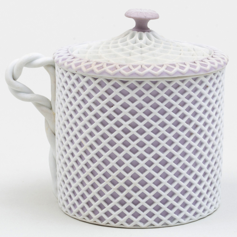 Wedgwood Lilac and White Jasperware Reticulated Cup and Cover