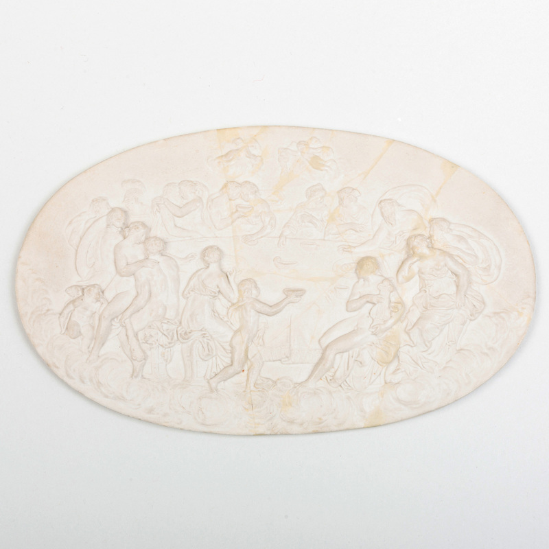Wedgwood and Bentley White Jasperware Oval Plaque of 'The Feast of the Gods'