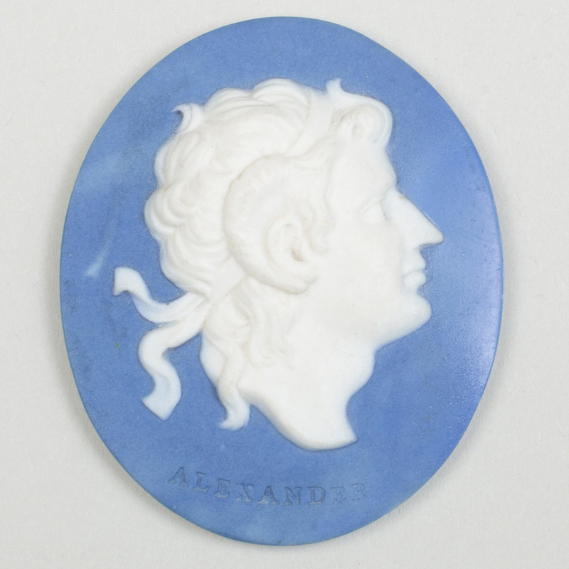 Wedgwood & Bentley Blue and White Jasper Oval Portrait Medallion of Alexander the Great