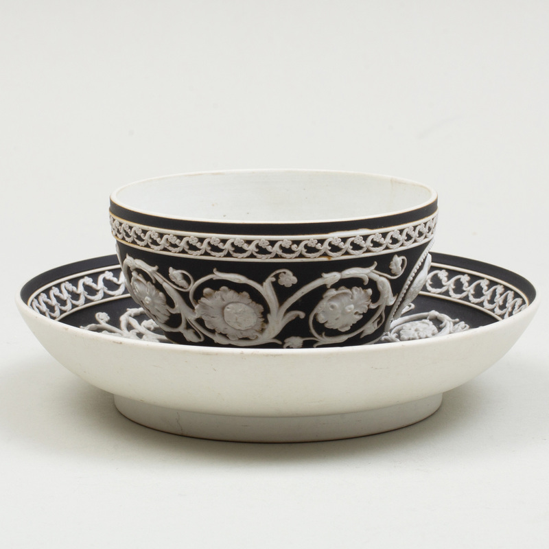 Wedgwood Black and White Jasperware Cylindrical Cup and Saucer