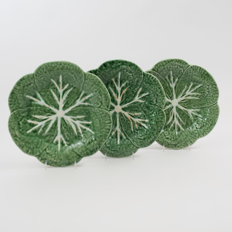 Set of Eight Portuguese Majolica Cabbage Leaf Form Dessert Plates