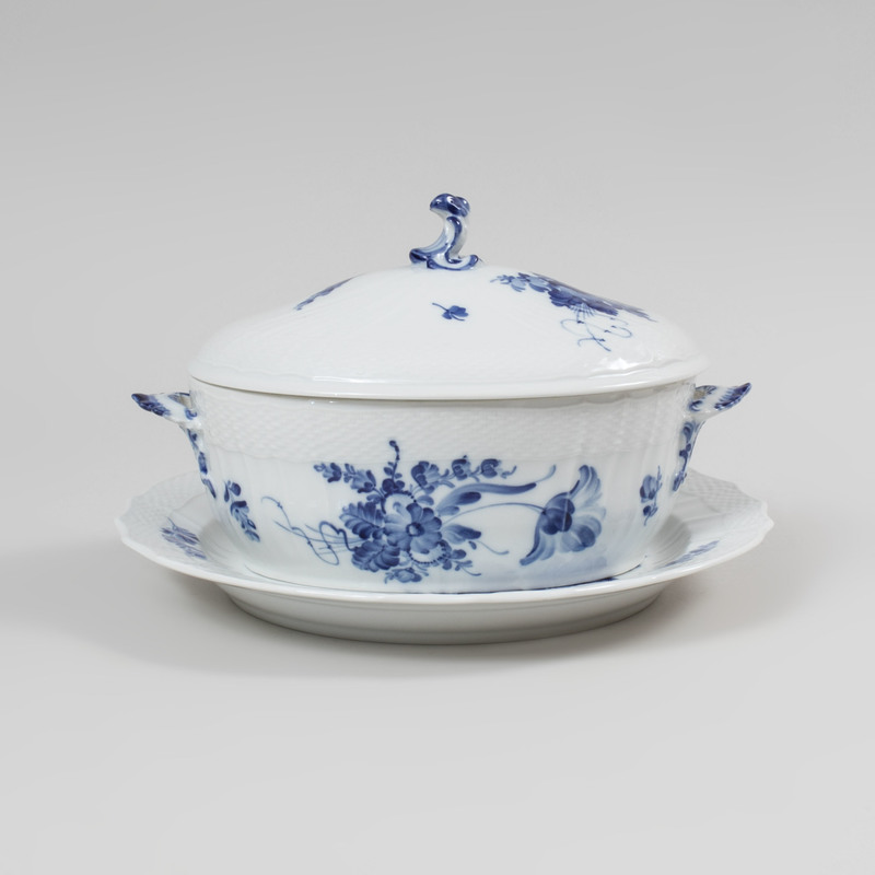 Royal Copenhagen Blue and White Porcelain Circular Platter and a Tureen and Cover in the 'Blue Flowers' Pattern