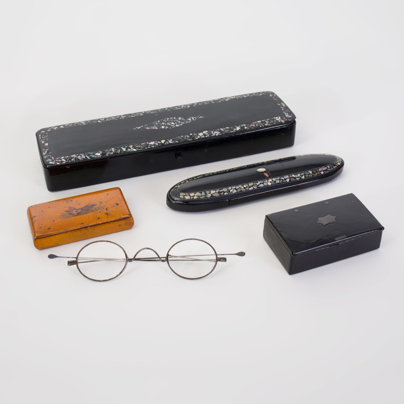 Three Small Wood Boxes and an Eye Glass Case