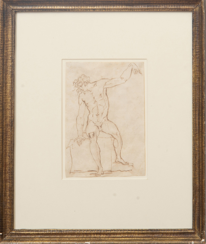 Attributed to Henry Fuseli (1741-1825): Figure Study of a Nude Male