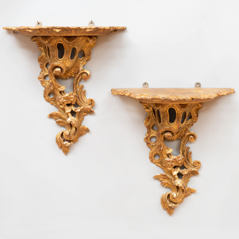 Pair of George II Style Carved Giltwood Wall Brackets