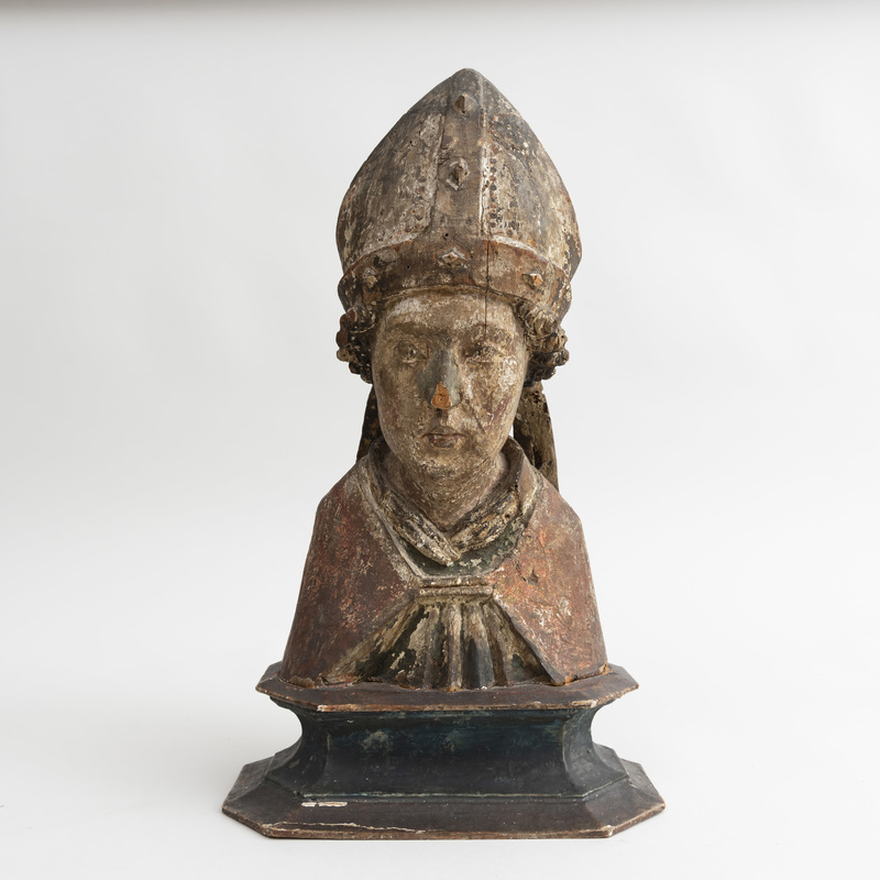 Continental Carved Wood Polychrome Bust of a Saint