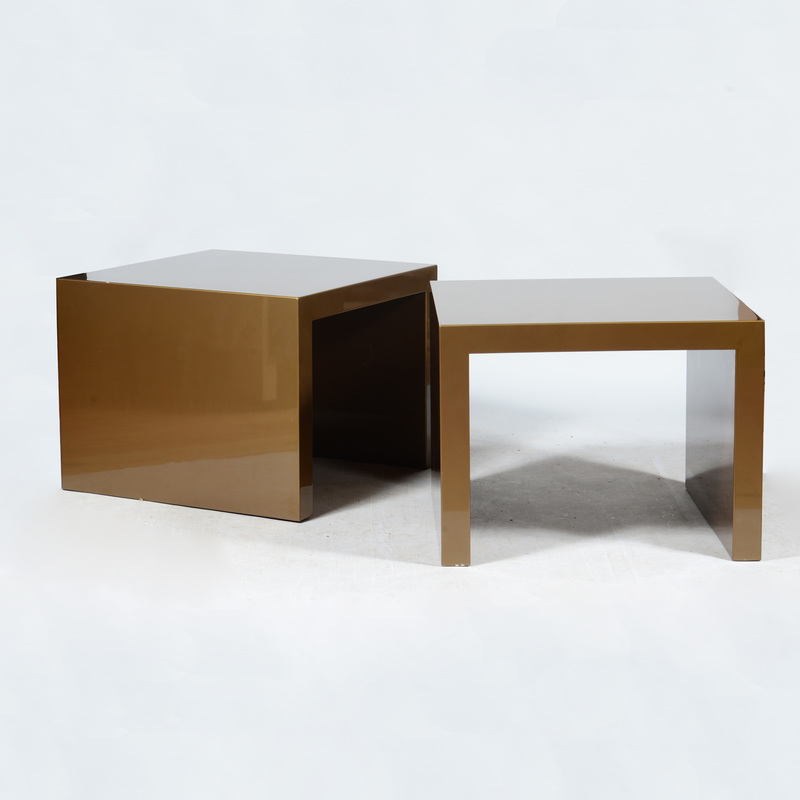 Pair of Parson Style Brown Lacquered Side Tables