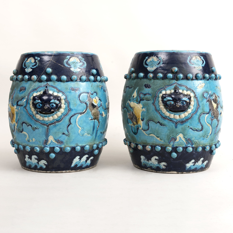 Pair of Chinese Turquoise Fahua Glazed Porcelain Garden Seats