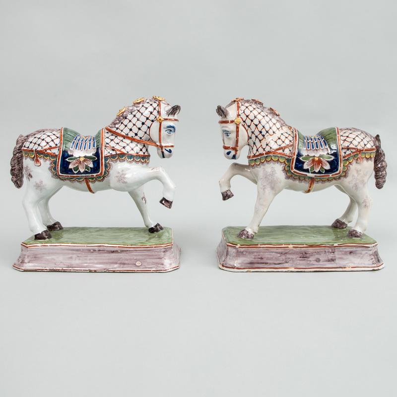 Pair of Dutch Polychrome Delft Models of Prancing Horses