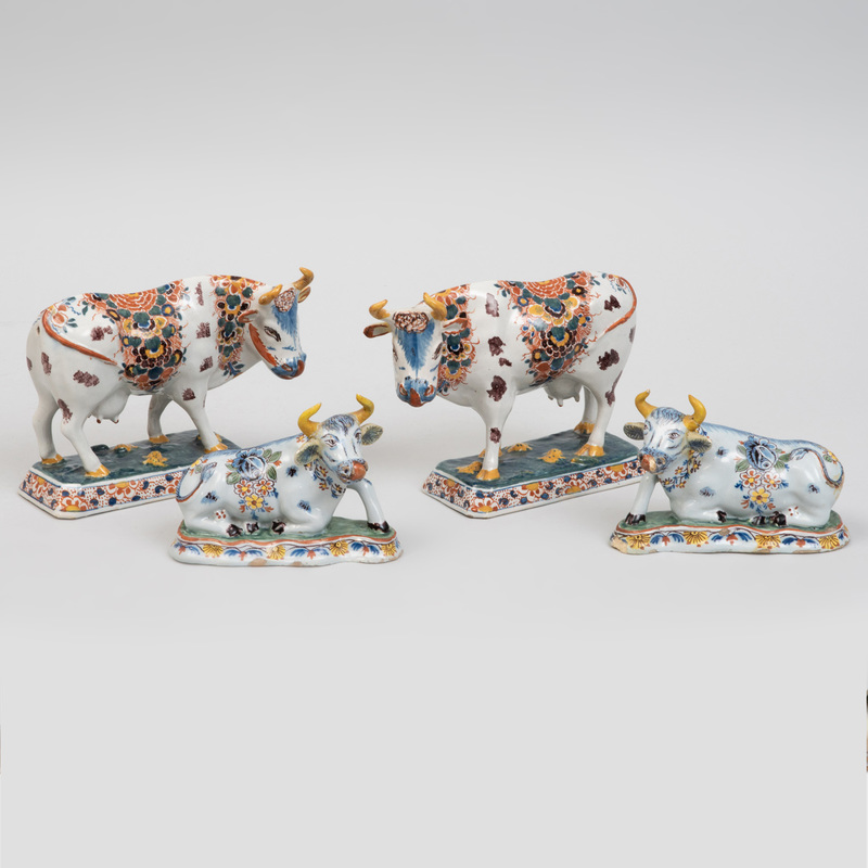 Two Pairs of Dutch Polychrome Delft Models of Cows