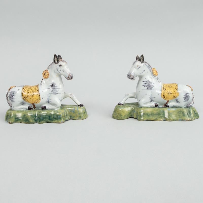 Pair of Dutch Delft Models of Recumbent Horses