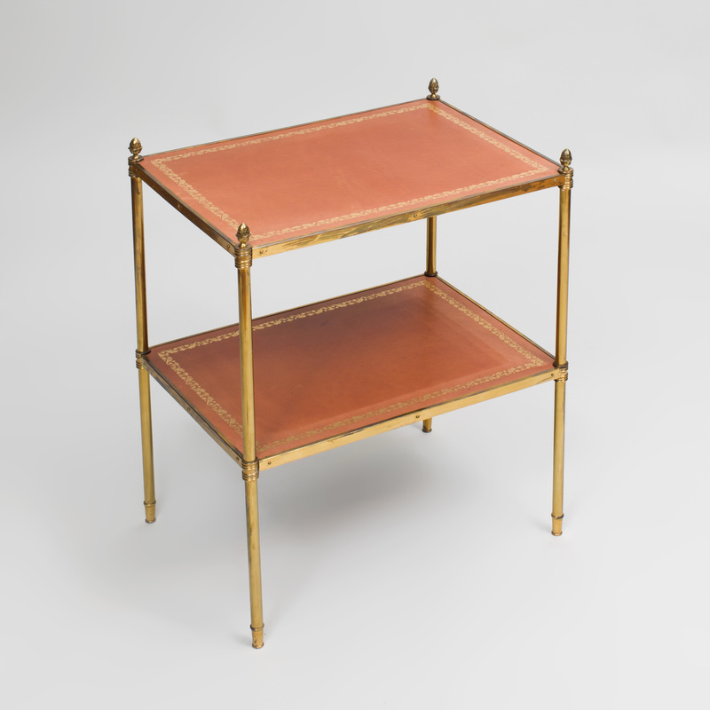 Directoire Style Bass-Mounted Two Tier Leather Lined Table