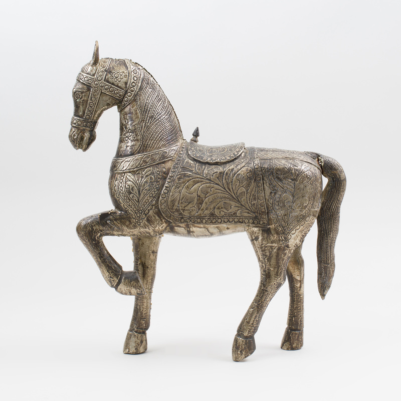 Silvered-Metal Figure of a Horse