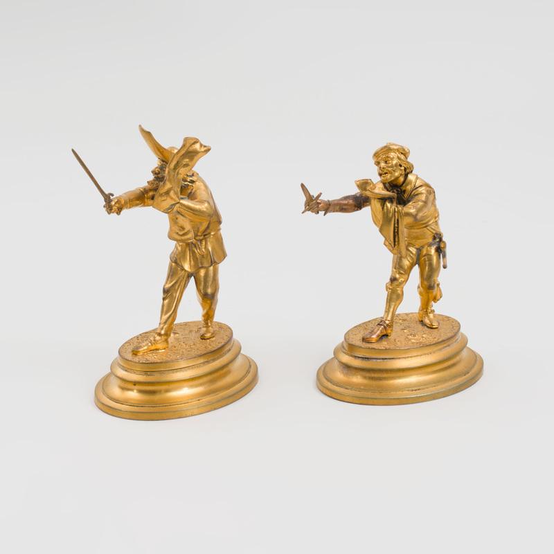 Two Italian Gilt-Metal Figures of Swordsmen