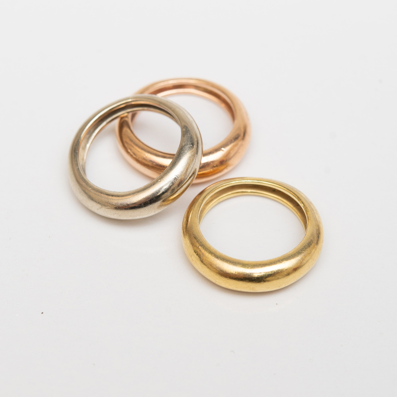 Three Tri-Color 18k Gold Rings