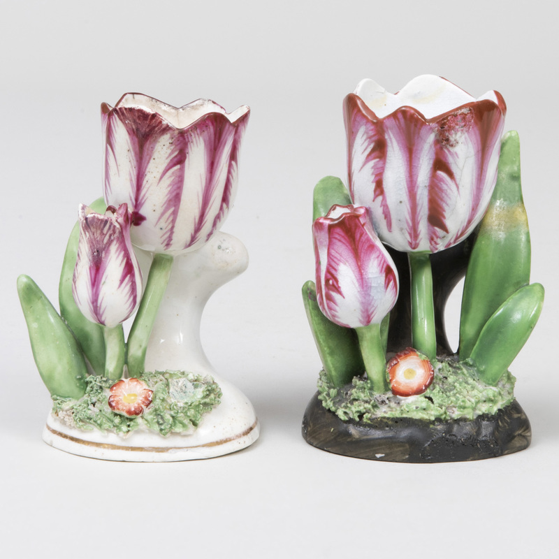 Two Rockingham Porcelain Tulip Form Spill Vases