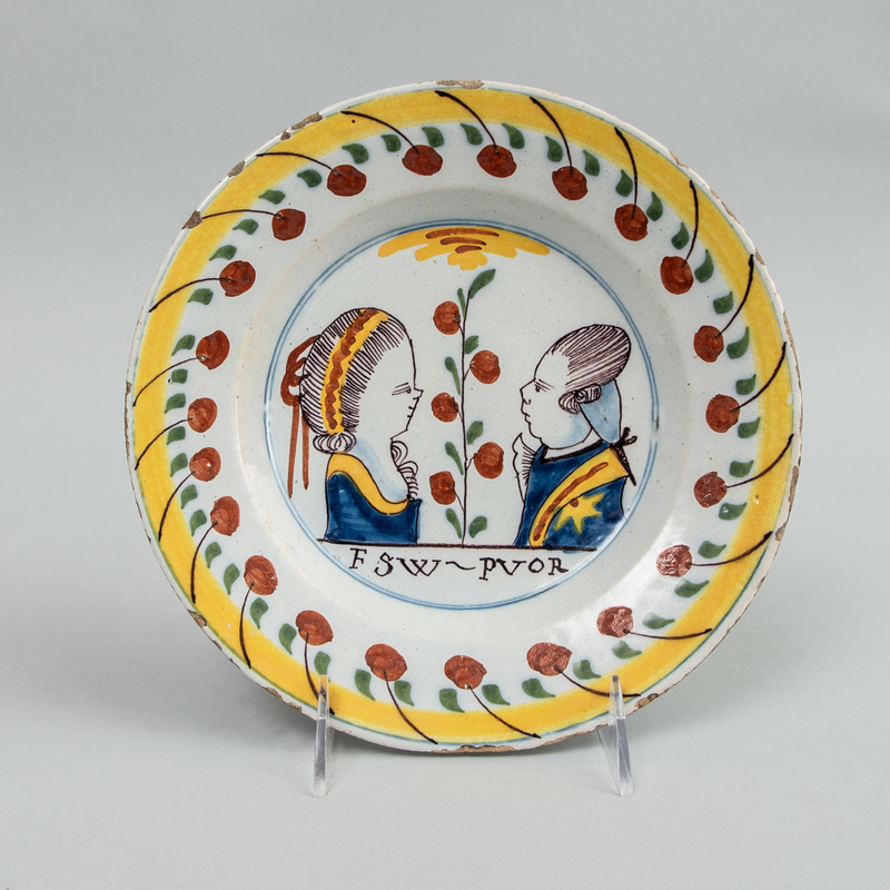 Dutch Polychrome Delft Plate of Prince William V of Orange and Princess Frederica Sophia