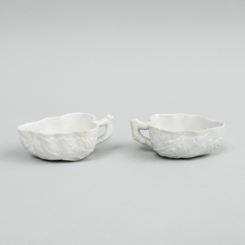 Pair of English White Glazed Leaf Form Sweetmeat Dishes
