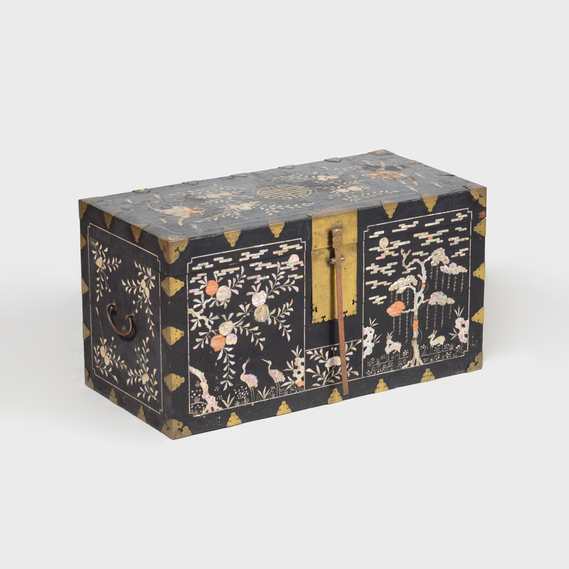 Japanese Brass-Mounted Nacre Inlaid and Black Lacquered Chest