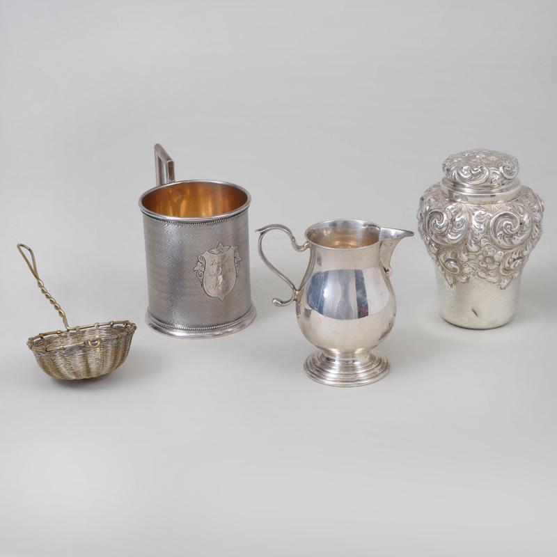 Theodore B. Starr Silver Tea Caddy and Cover, and an Ensko Sparrow Beak Cream Jug