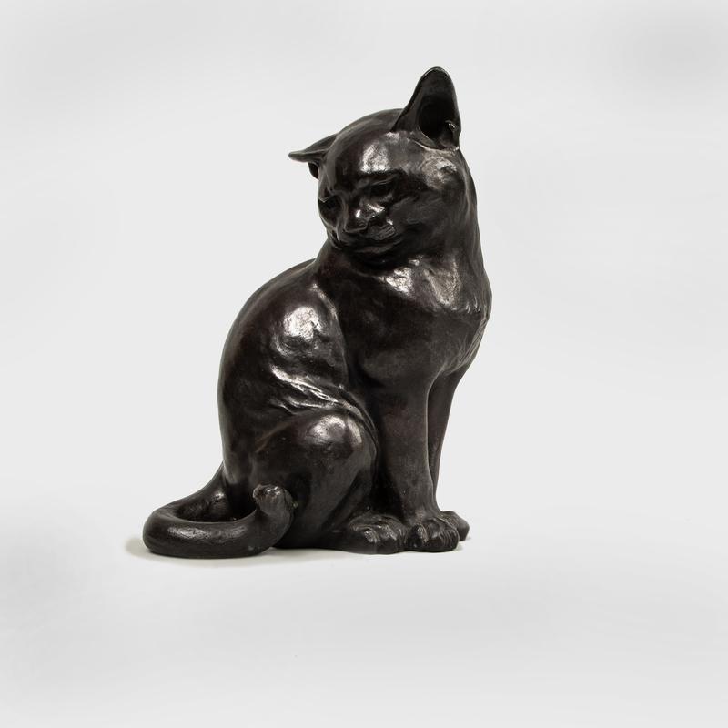 Japanese Cast-Bronze Model of a Cat