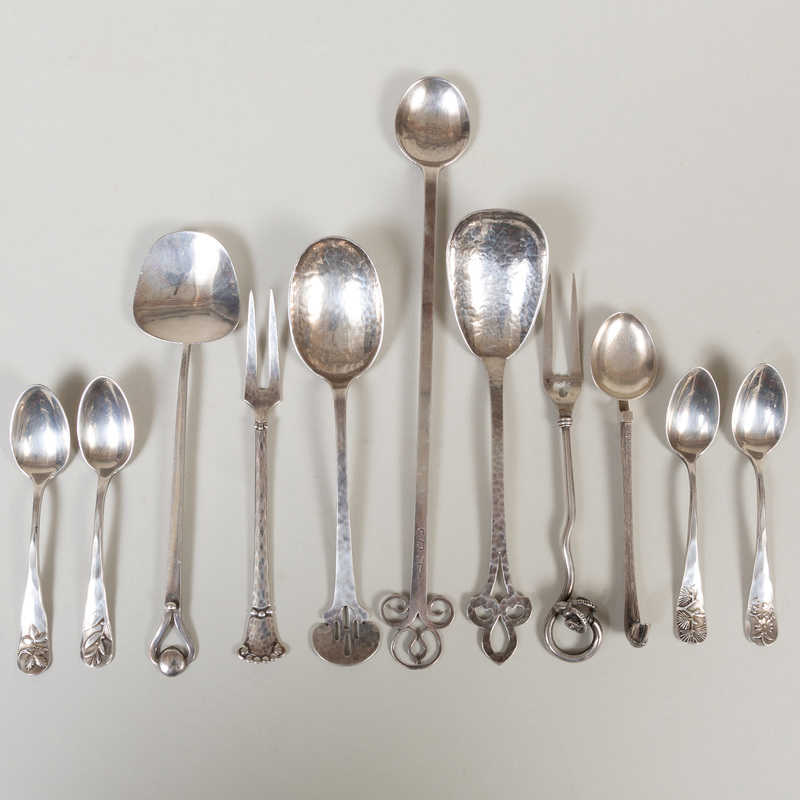 Group of Silver Arts and Crafts Serving Wares and Four Sheilber Spoons