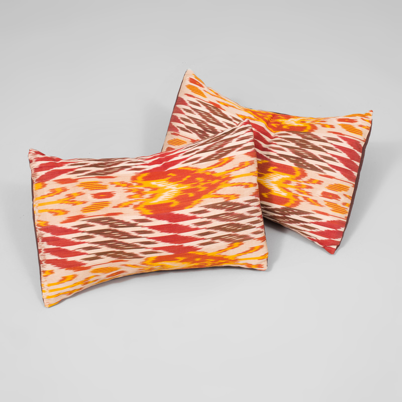 Pair of Ikat Patterned Pillows