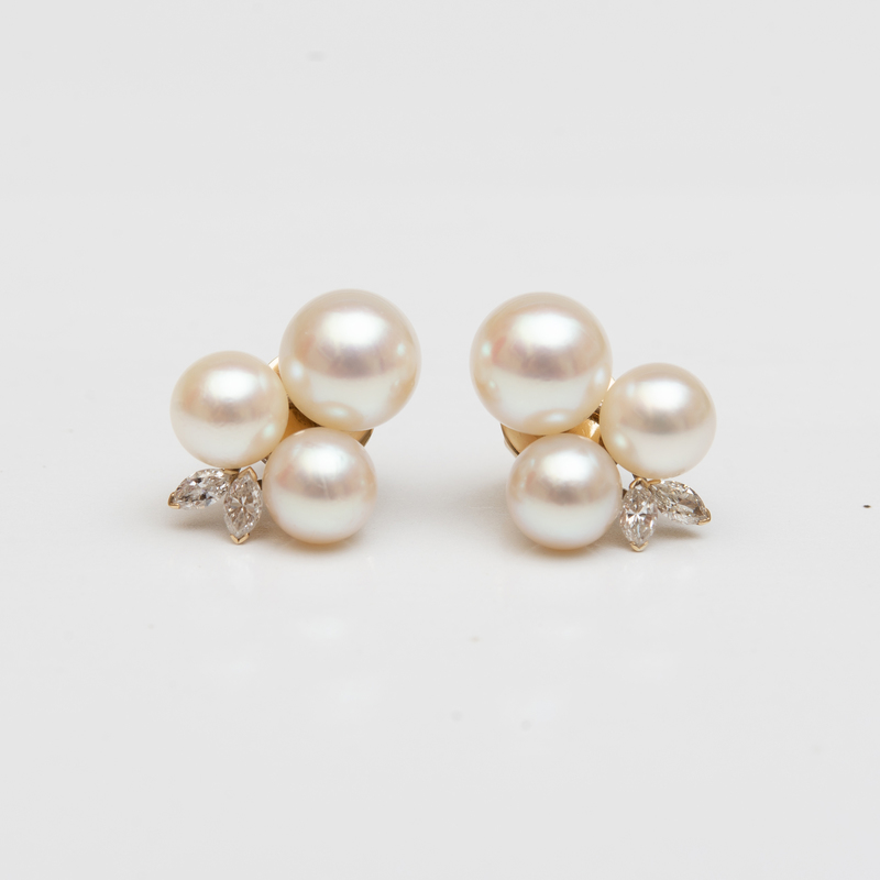Pair of 18k Gold, Cultured Pearl and Diamond Earrings