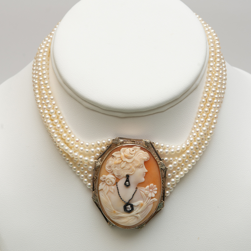 Seven Strand Seed Pearl and Shell Cameo Choker Necklace