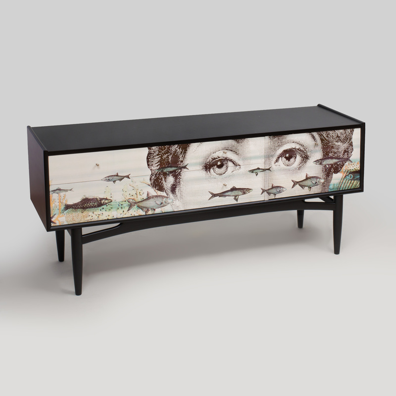 Piero Fornasetti Style Transfer Printed and Ebonized Sideboard, of Recent Manufacture