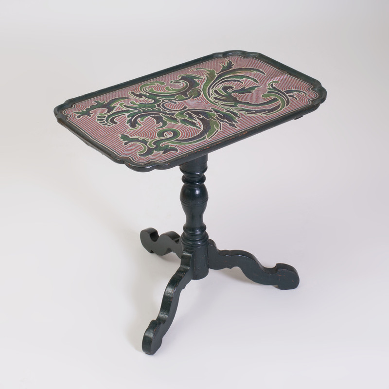 Fine German Rococo Glass Beadwork and Dark Green Painted Center Table, Johann Michael van Selow, Braunschweig