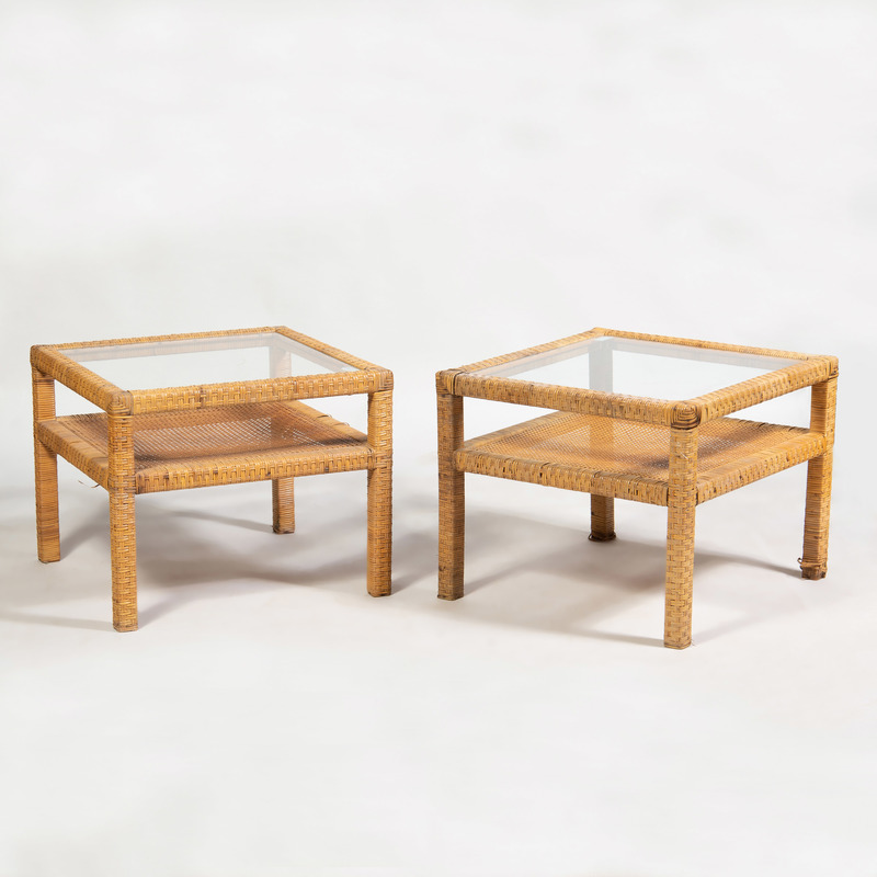 Pair of Modern Wicker and Glass End Tables
