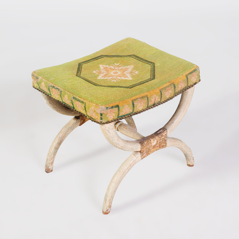 Empire Painted and Parcel-Gilt Tabouret