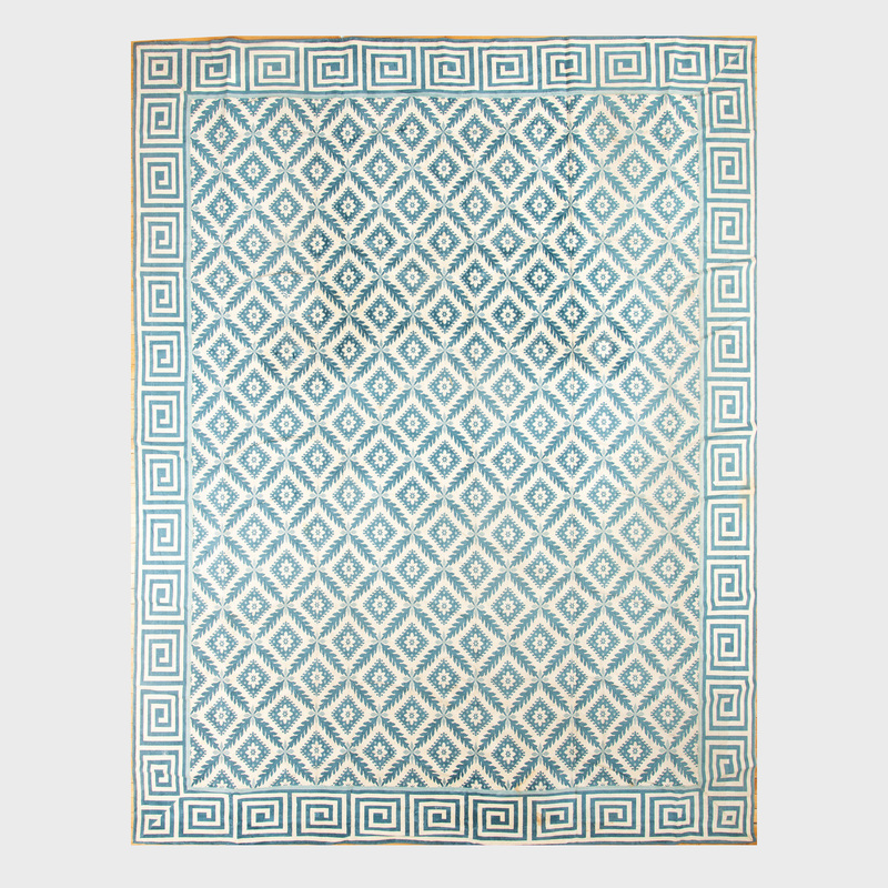 Modern Blue and White Floral Geometric Silk Carpet