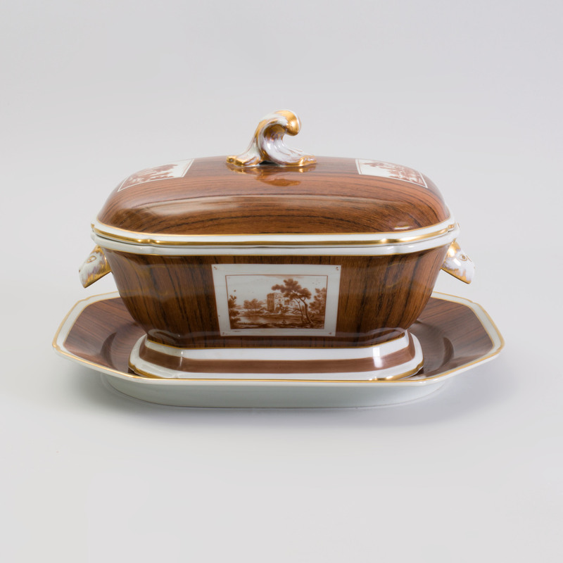 Mottahedeh Trompe L'Oeil Porcelain Soup Tureen and Under Plate