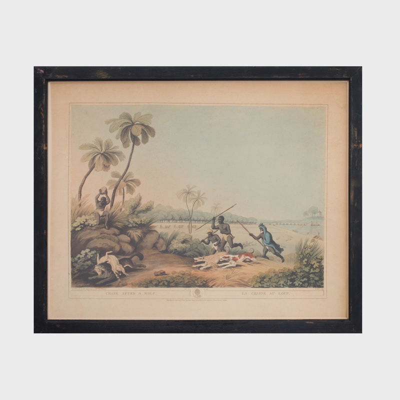 Samuel Howitt (1765-1822): A Tiger Killed by a Poisoned Arrow; Smoking Wolves from their Earths; and Chase After a Wolf, from Oriental Field Sports: Three Plates